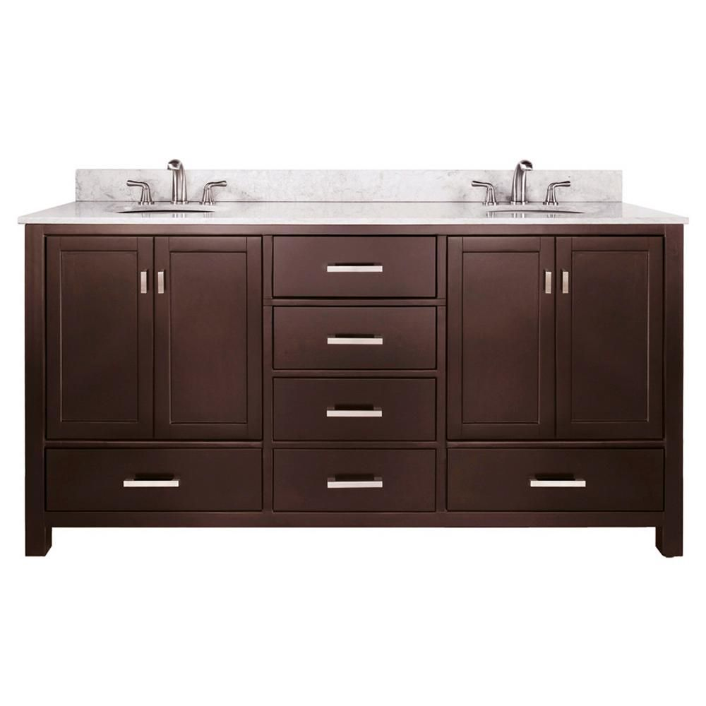 Modero 72-inch W Double Sink Vanity in Espresso Finish with Marble Top in Carrara White