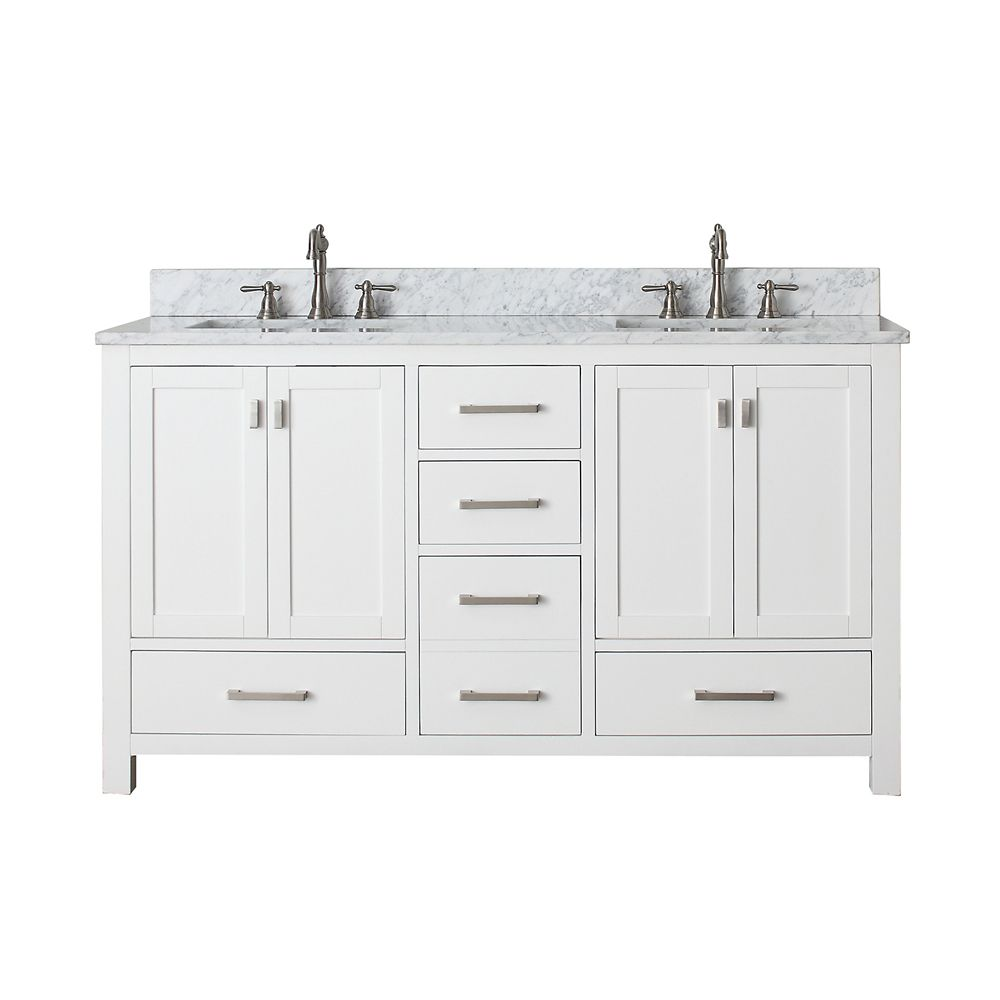 Modero 60-inch Double Vanity with Marble Top in Carrara White and White Double Sinks