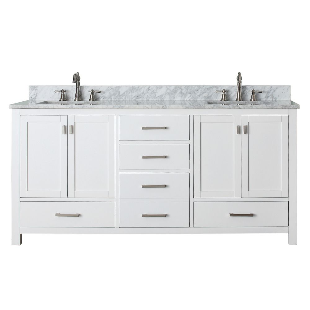 Avanity Modero 73-inch W 5-Drawer Freestanding Vanity in White With Marble Top in White, Double Basins