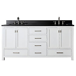 Avanity Modero 73-inch W 5-Drawer Freestanding Vanity in White With Granite Top in Black, Double Basins