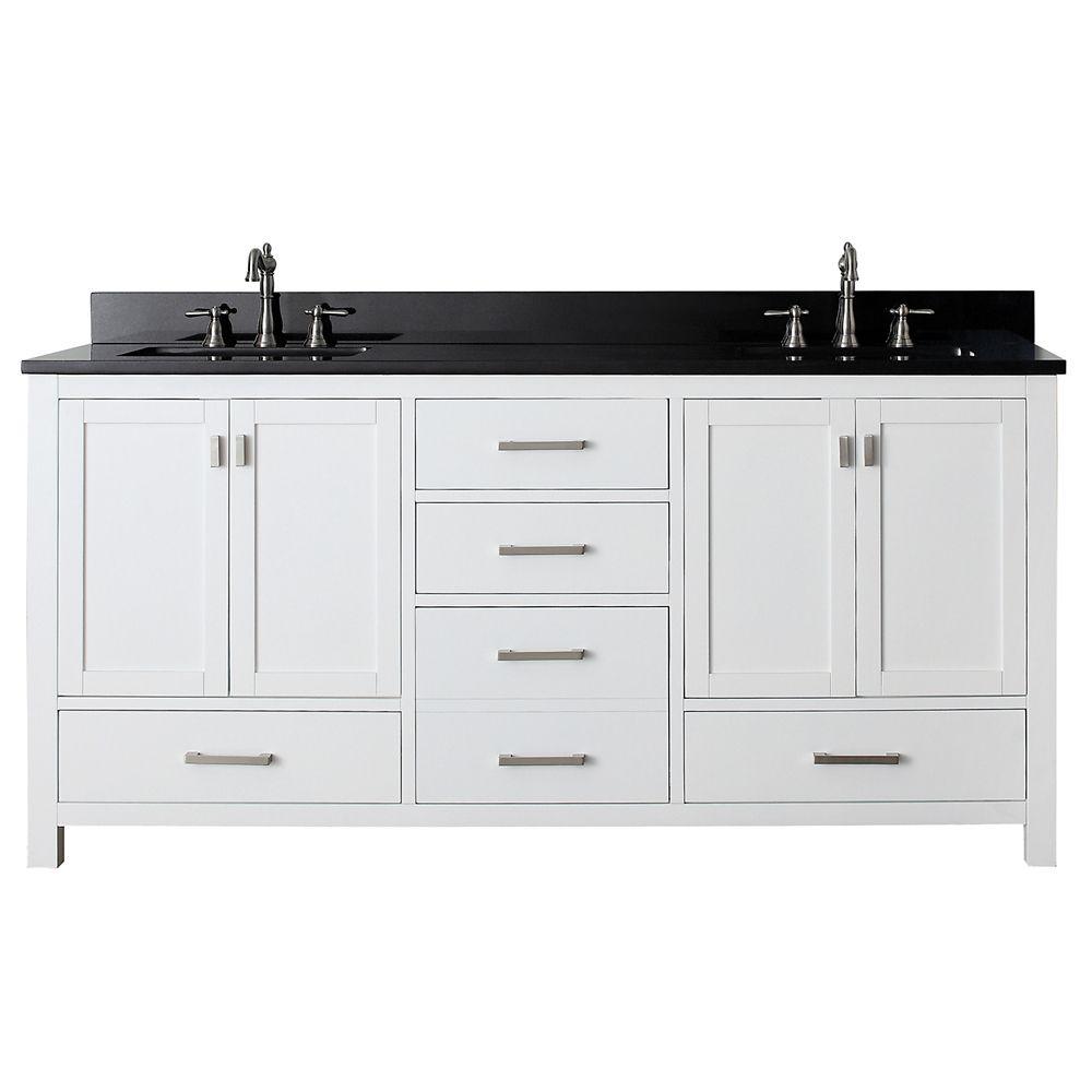 Meuble-lavabo Modero de 72 po blanc avec lavabo double et comptoir en granite noir (Robinet non i...