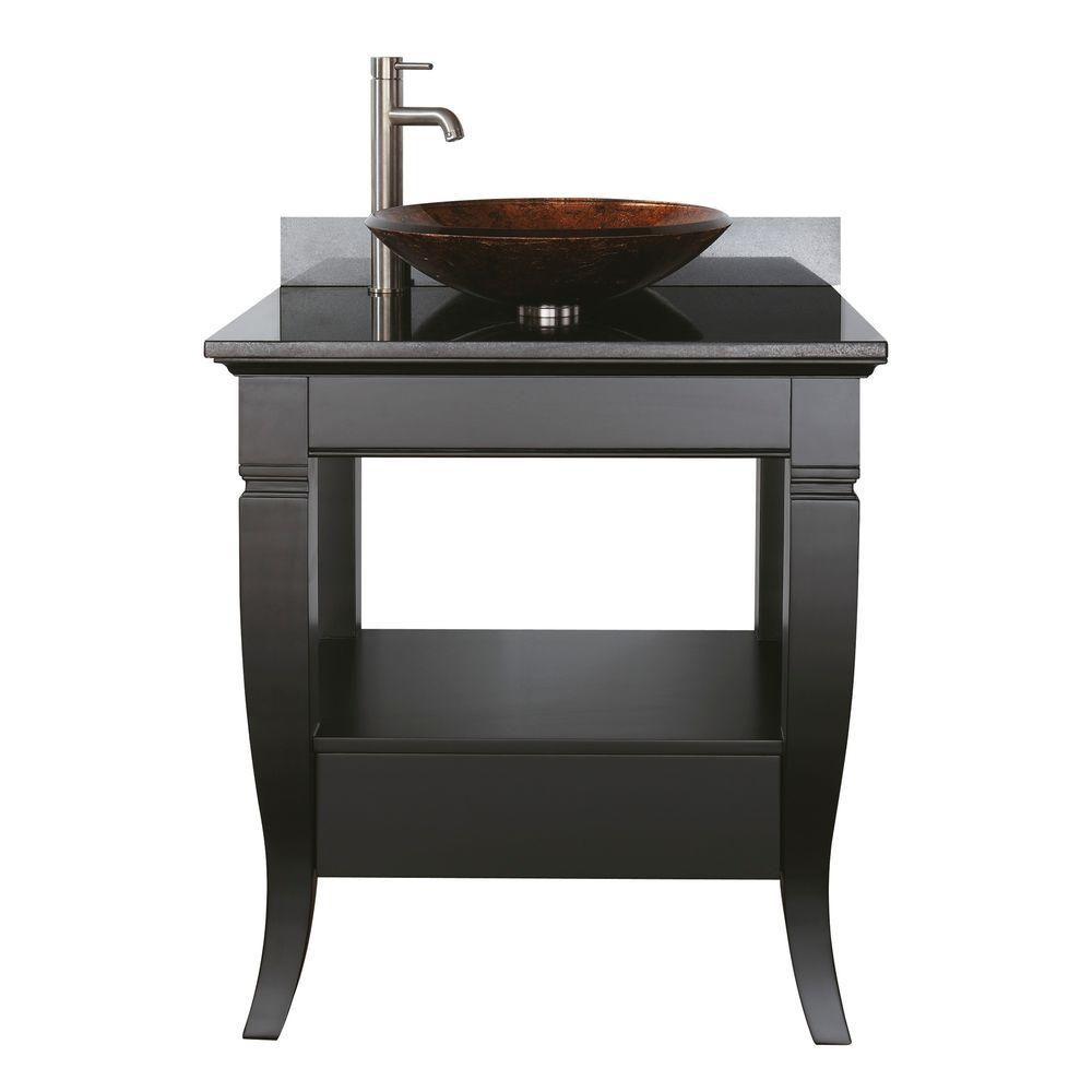 Meuble-lavabo Milano de 30 po noir avec comptoir en granite noir pour vasque (Robinet non inclus)