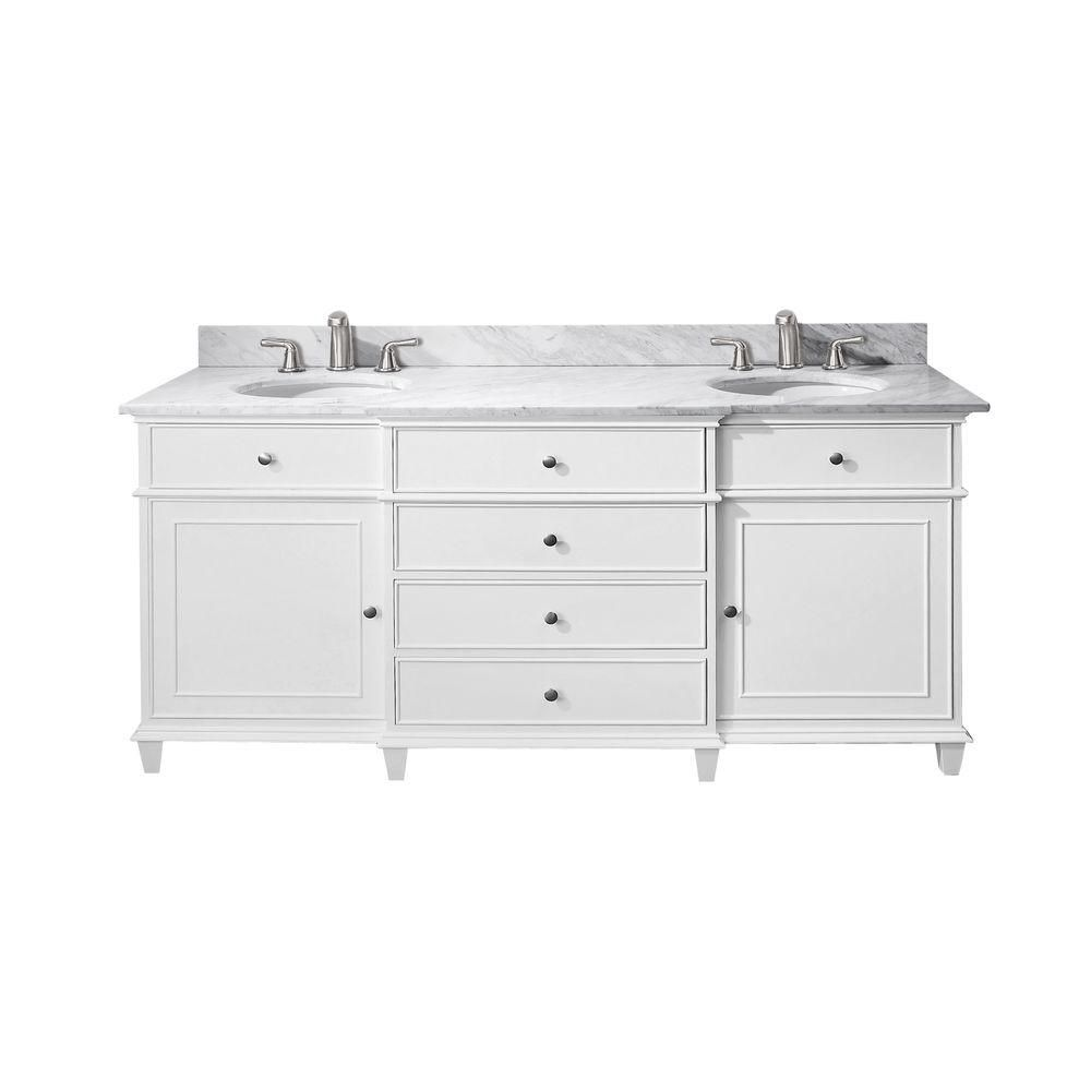 Windsor 72-inch W Double Sink Vanity in White Finish with Marble Top in Carrara White