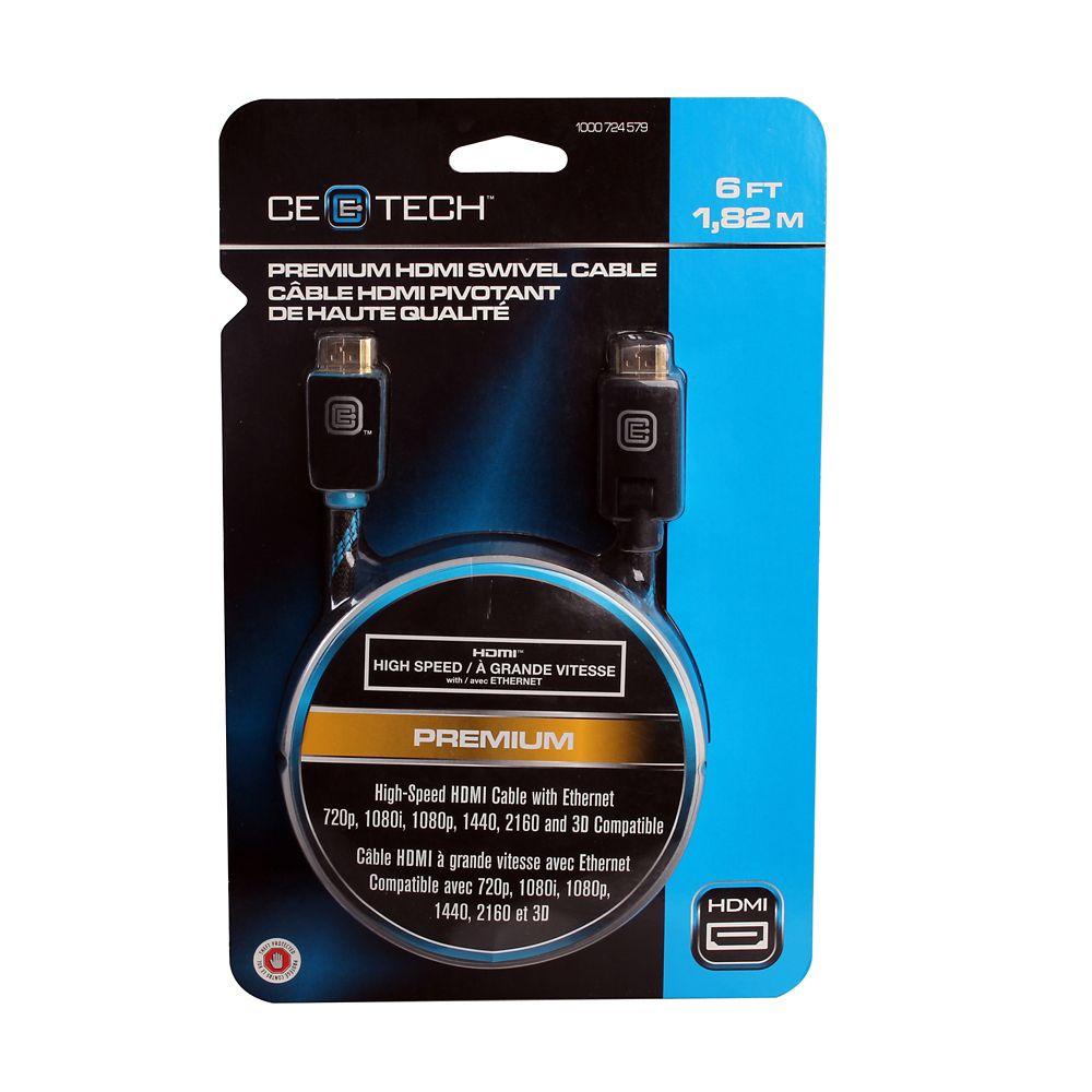 1,82 m câble HDMI pivotant de haute qualité