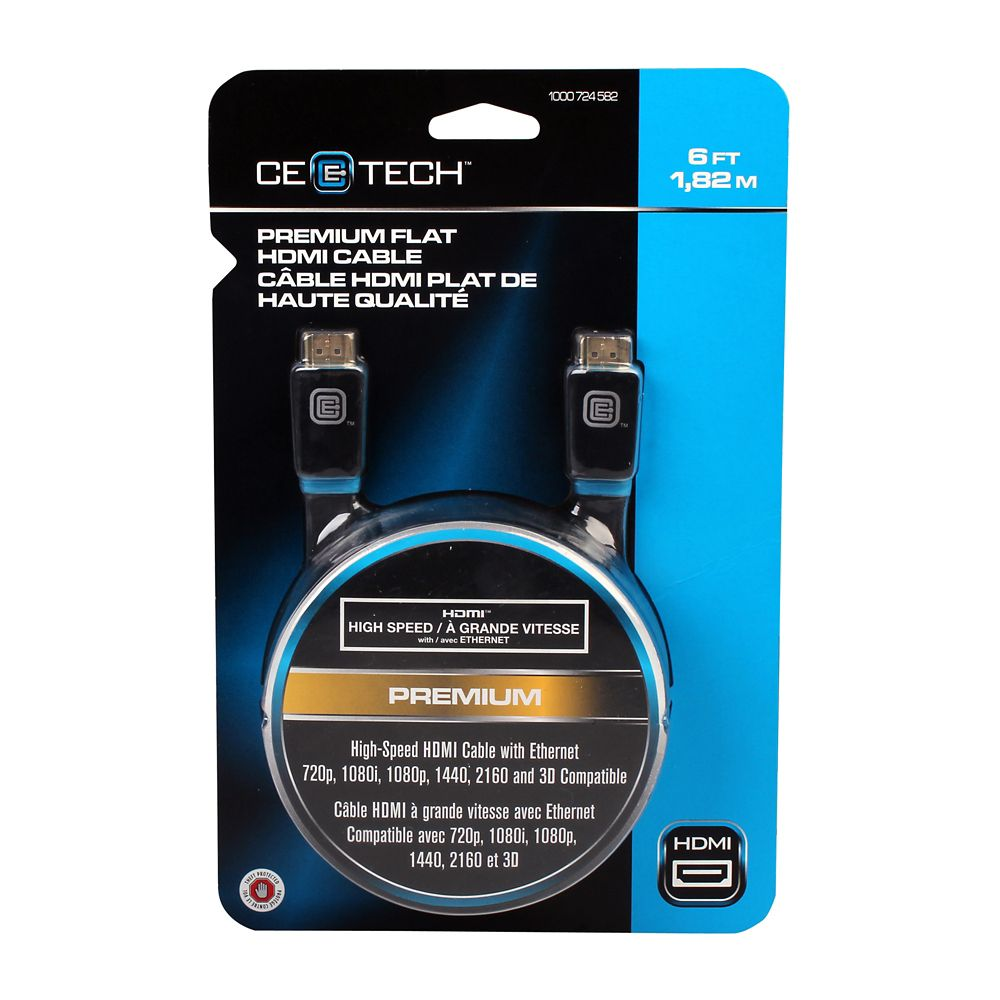 1,82 m câble HDMI plat de haute qualité