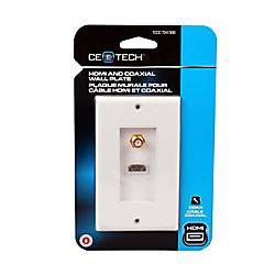 Commercial Electric HDMI And Coaxial Wall Plate