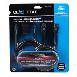 Commercial Electric 1,82 m trousse de câbles HDMI deluxe paquet de 2