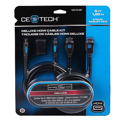 Commercial Electric 6 Feet Deluxe HDMI Cable Kit (2-Pack)