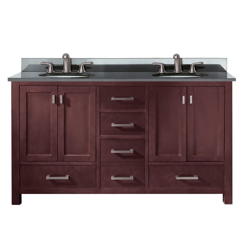 Modero 60-inch W Double Vanity in Espresso Finish with Granite Top in Black
