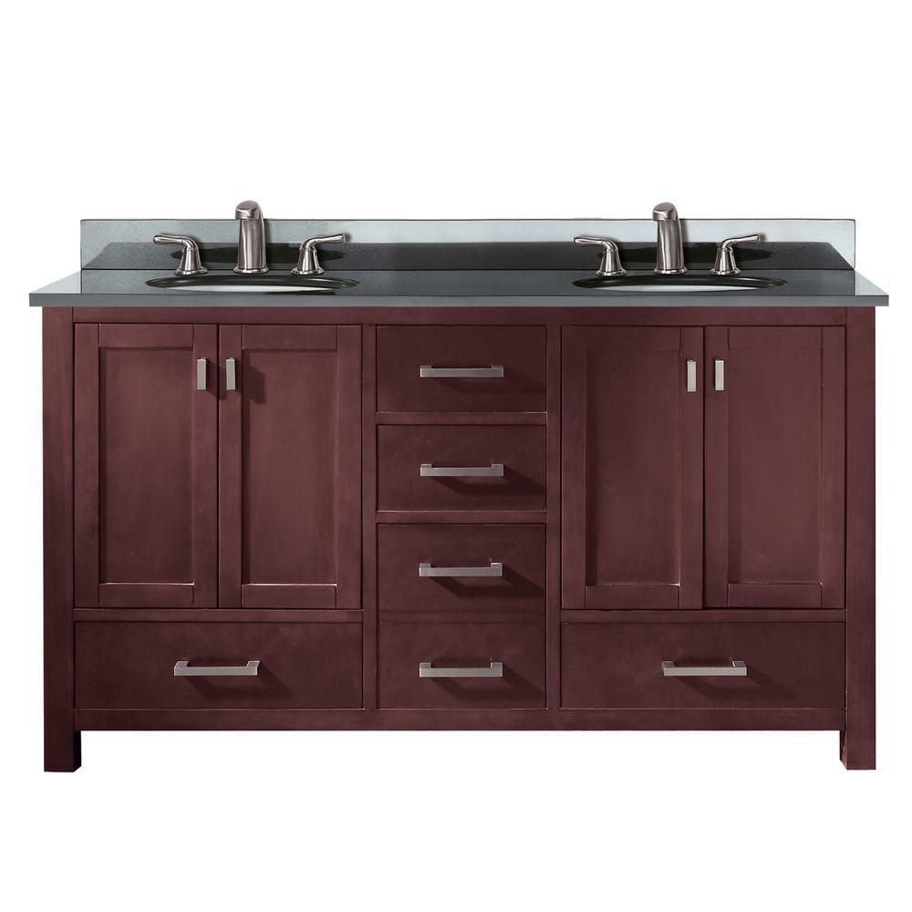 Avanity Modero 61-inch W 5-Drawer Freestanding Vanity in Brown With Granite Top in Black, Double Basins
