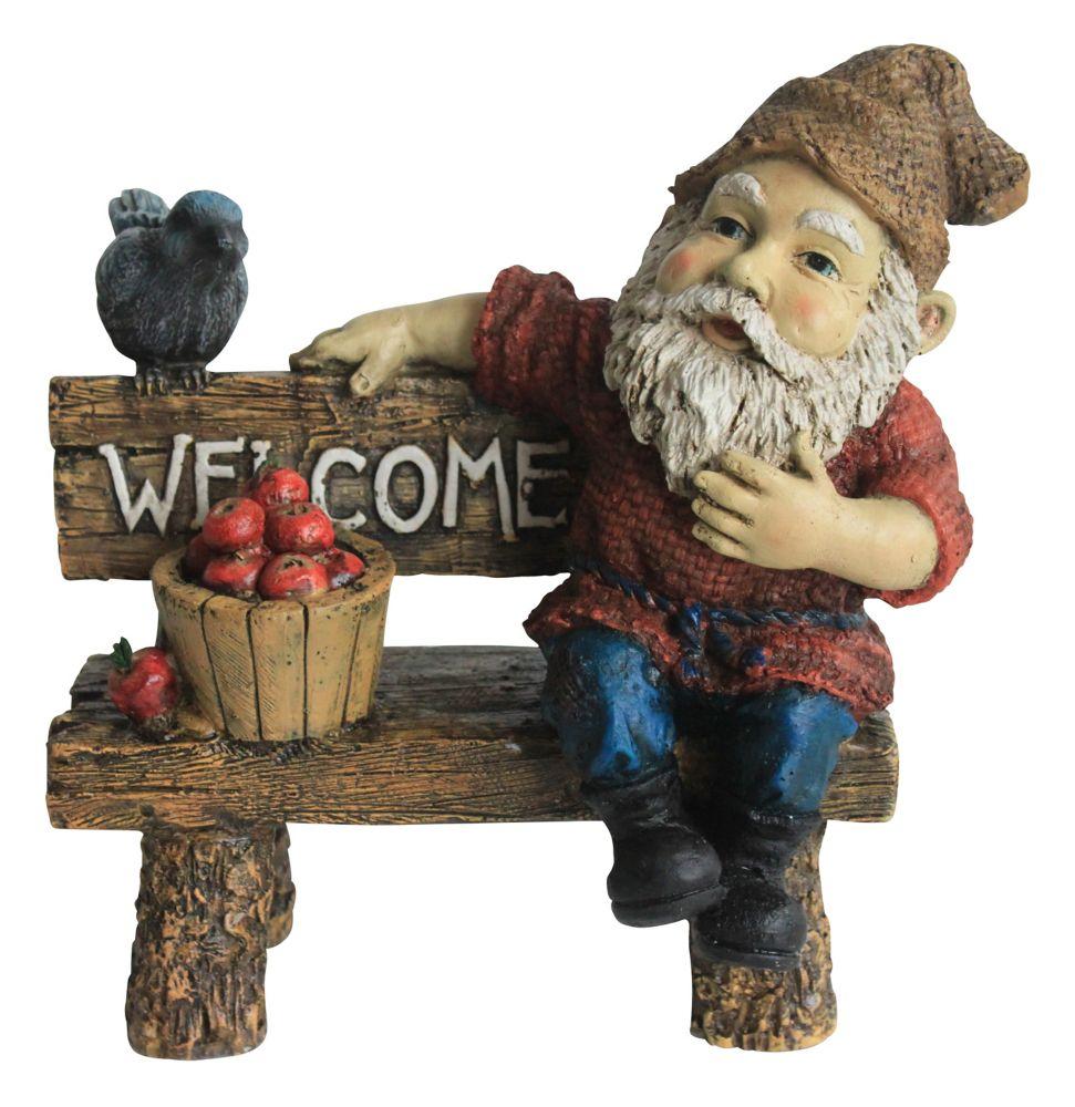 Statue gnome sur banc Gustov