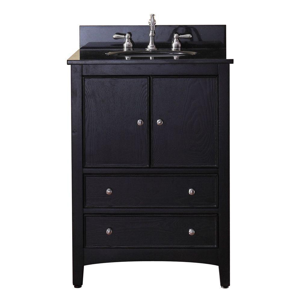 Meuble-lavabo Westwood de 24 po au fini ébène foncé avec lavabo et comptoir en granite noir (Robi...