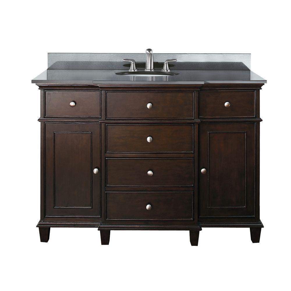 Windsor 48-inch W Vanity in Walnut Finish with Granite Top in Black