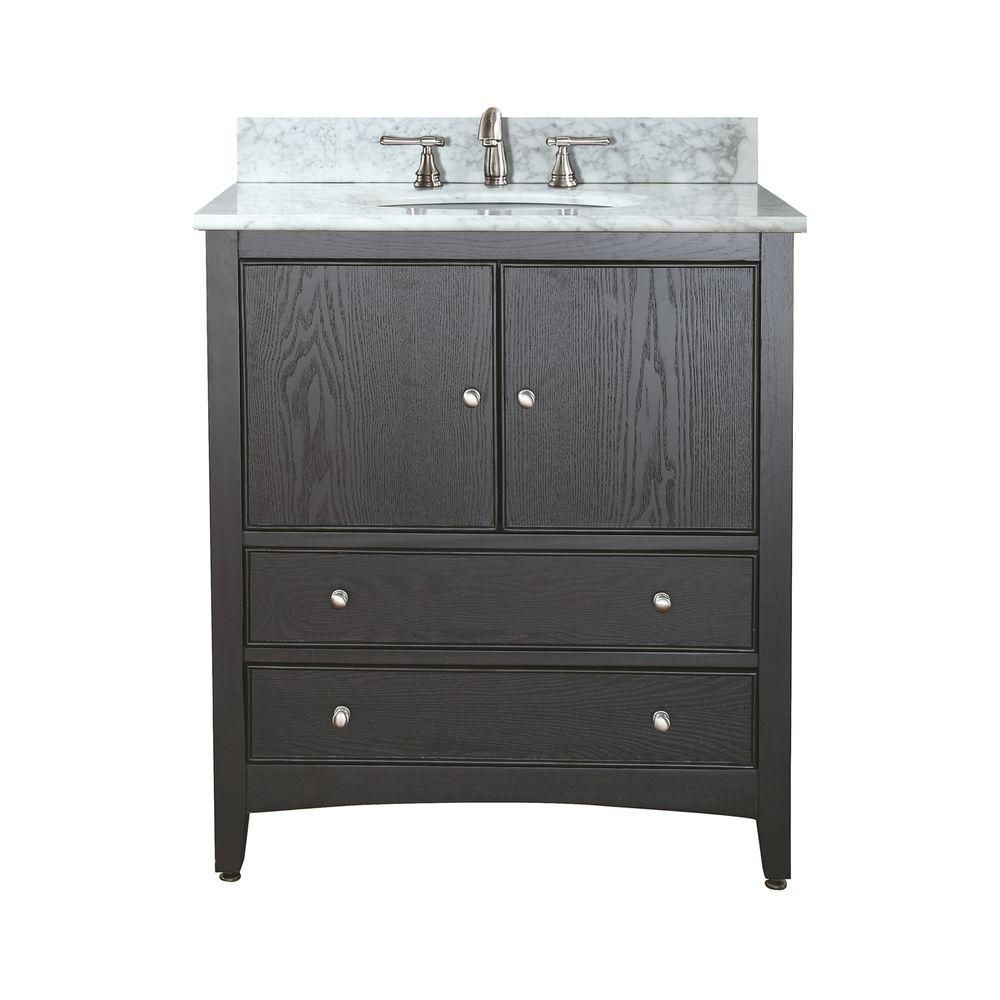 Avanity Westwood 24 Inch Vanity With Carrera White Marble Top And Sink In Dark Ebony Finish