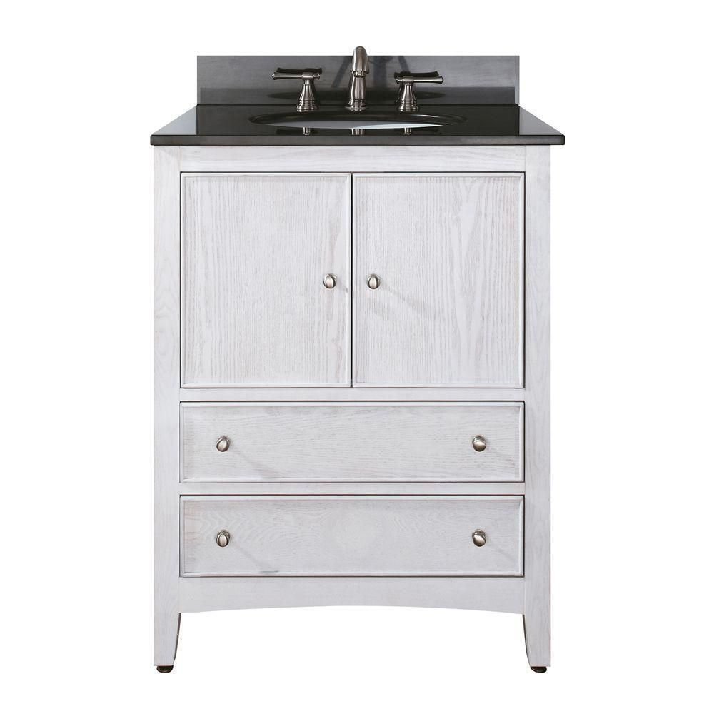 Westwood 24-inch W Vanity with Granite Top in Black and White Washed Sink