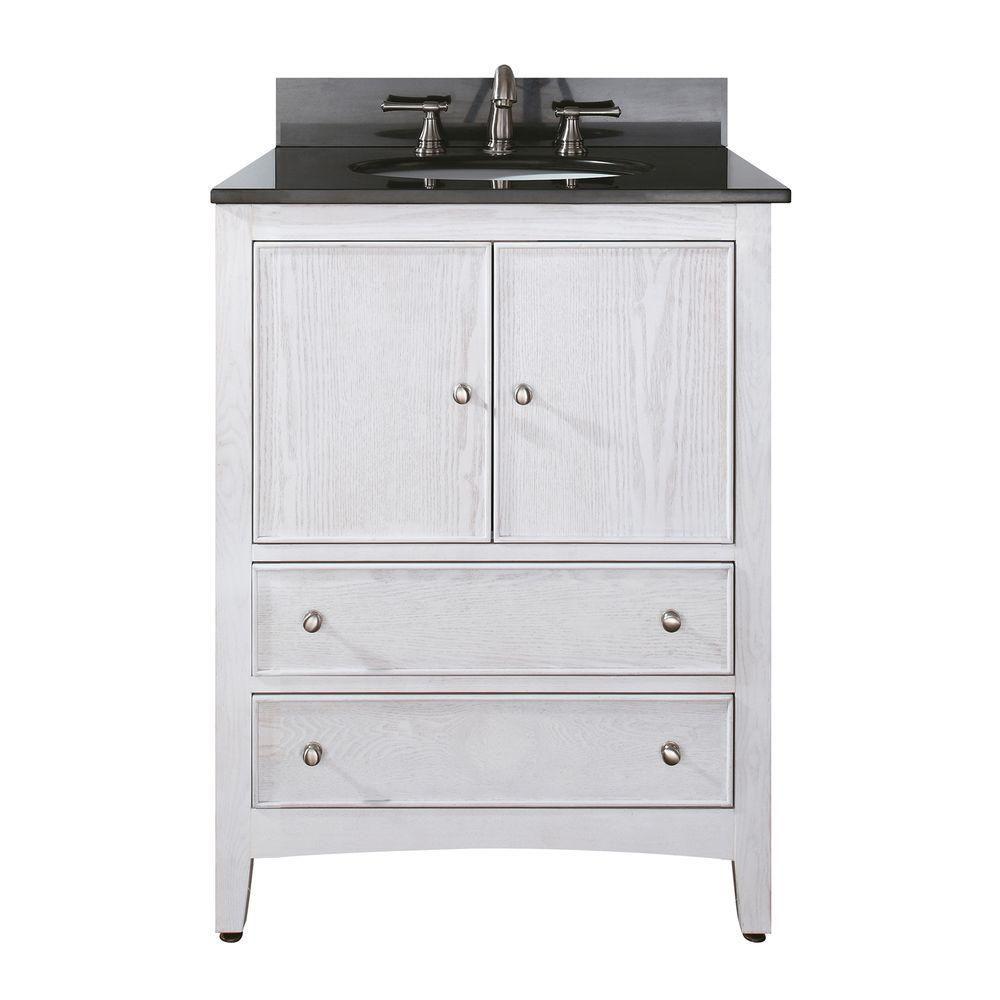 Meuble-lavabo Westwood de 24 po au fini blanchi avec lavabo et comptoir en granite noir (Robinet ...