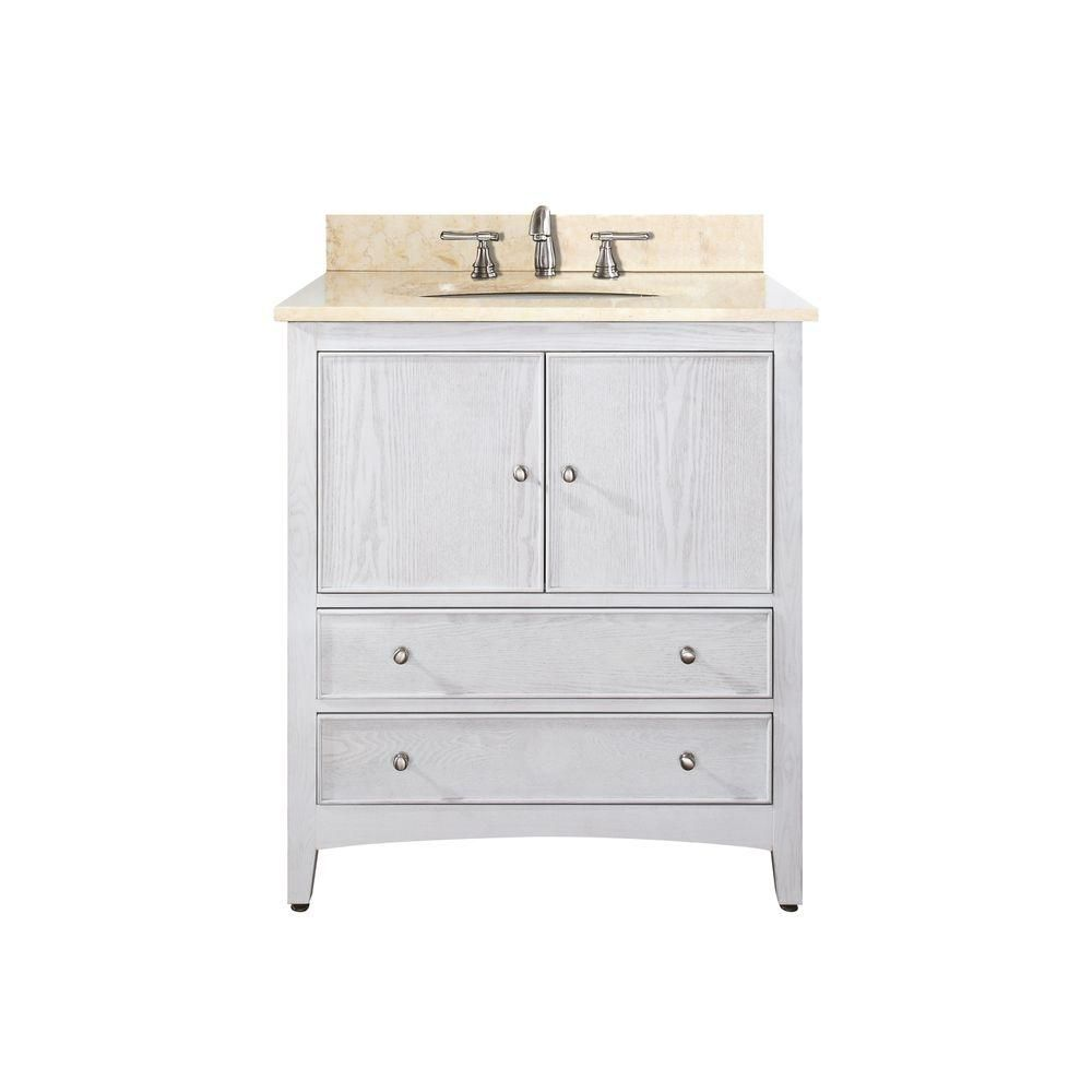 Westwood 24-inch W Vanity in White Washed Finish with Marble Top in Galala Beige