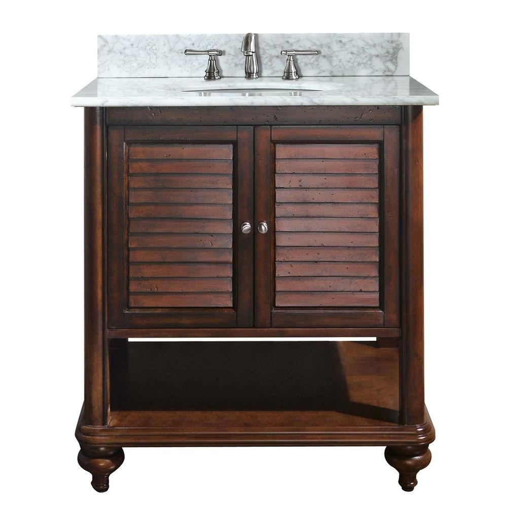 Tropica 30-inch W Vanity with Marble Top in Carrara White and Antique Brown Sink