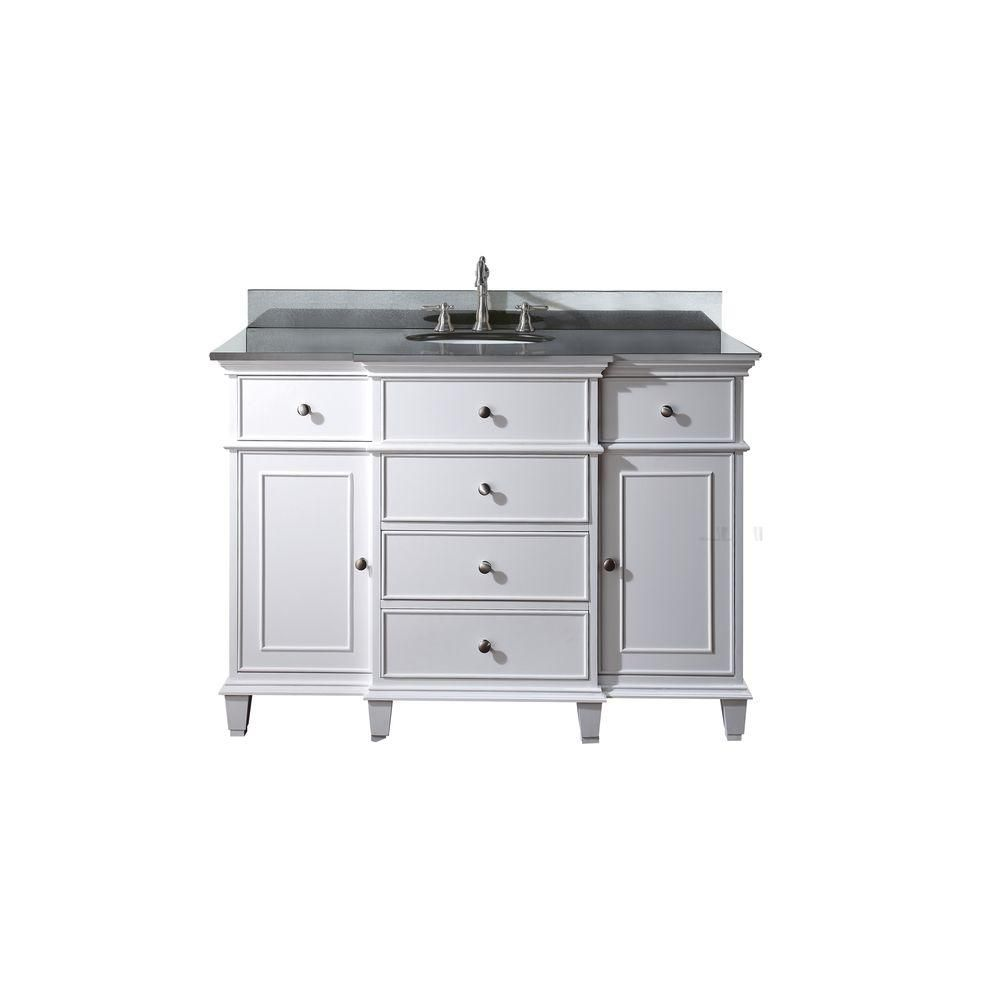 Meuble-lavabo Windsor de 48 po blanc avec lavabo encastré et comptoir en granite noir (Robinet no...