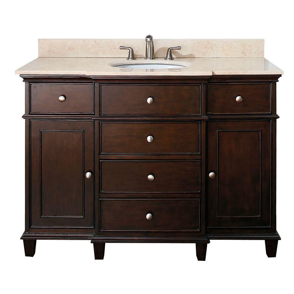 Avanity Windsor 49-inch W 5-Drawer Freestanding Vanity in Brown With Marble Top in Beige Tan