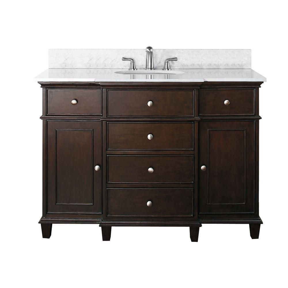 Windsor 48-inch W Vanity in Walnut Finish with Marble Top in Carrara White
