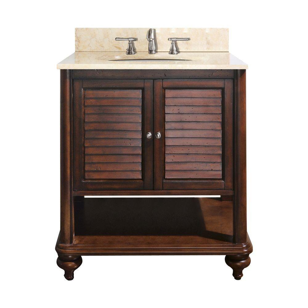 Meuble-lavabo Tropica de 24 po au fini blanc antique avec lavabo et comptoir en marbre beige au f...