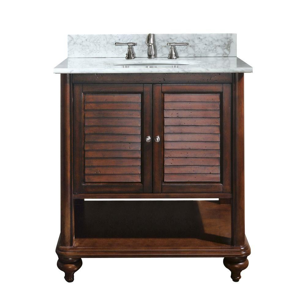 Tropica 24-inch W Vanity with Marble Top in Carrara White and Antique Brown Sink