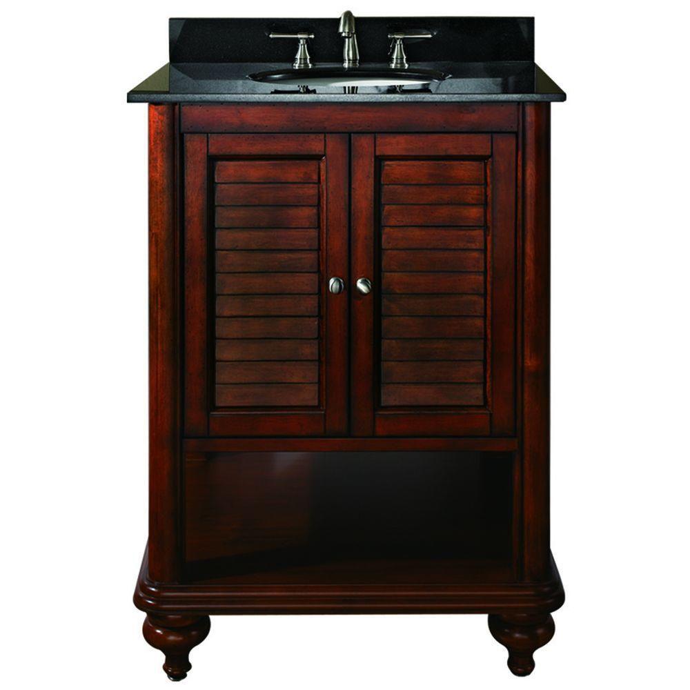 Meuble-lavabo Tropica de 24 po au fini brun antique avec lavabo et comptoir en granite noir (Robi...