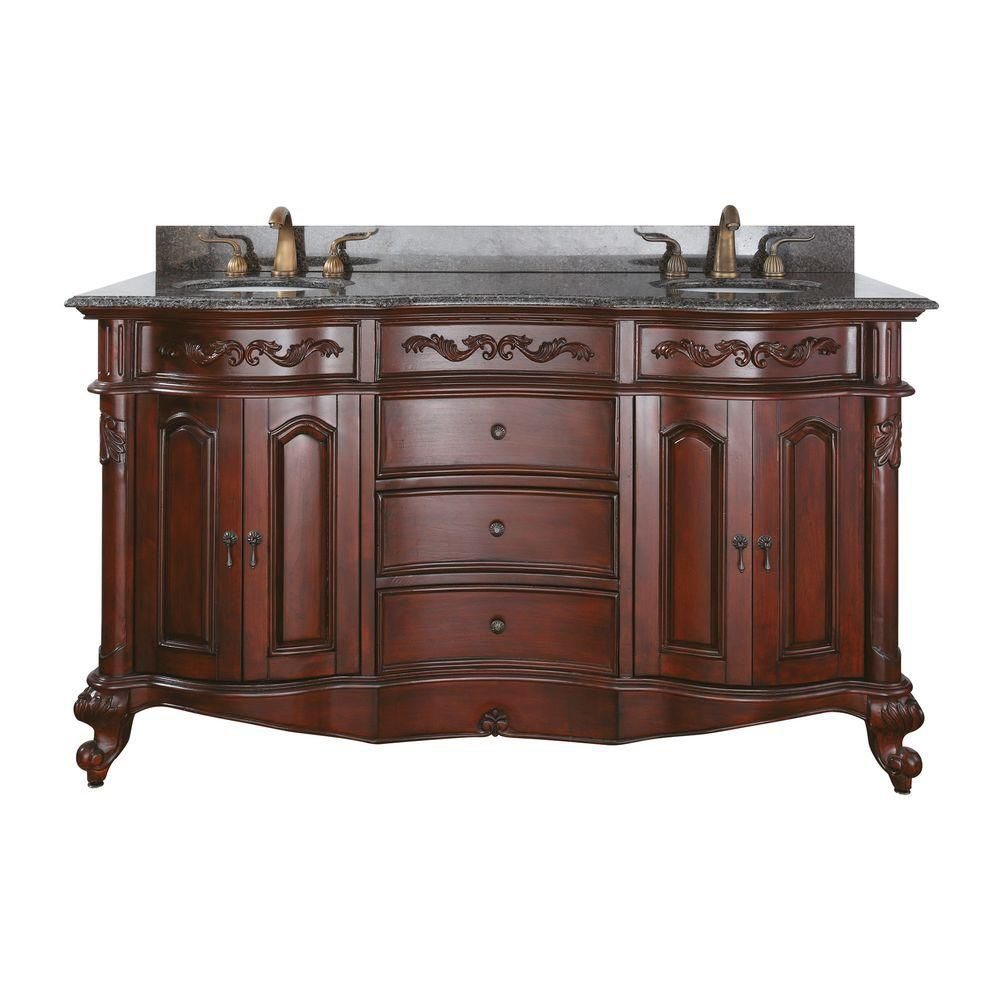 Provence 60-inch W Double Sink Vanity in Antique Cherry Finish with Granite Top in Imperial Brown