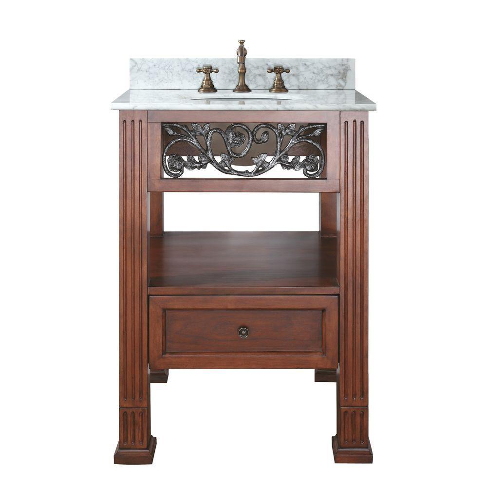 Meuble-lavabo Napa de 24 po au fini cerisier foncé avec lavabo et comptoir en marbre de Carrare b...