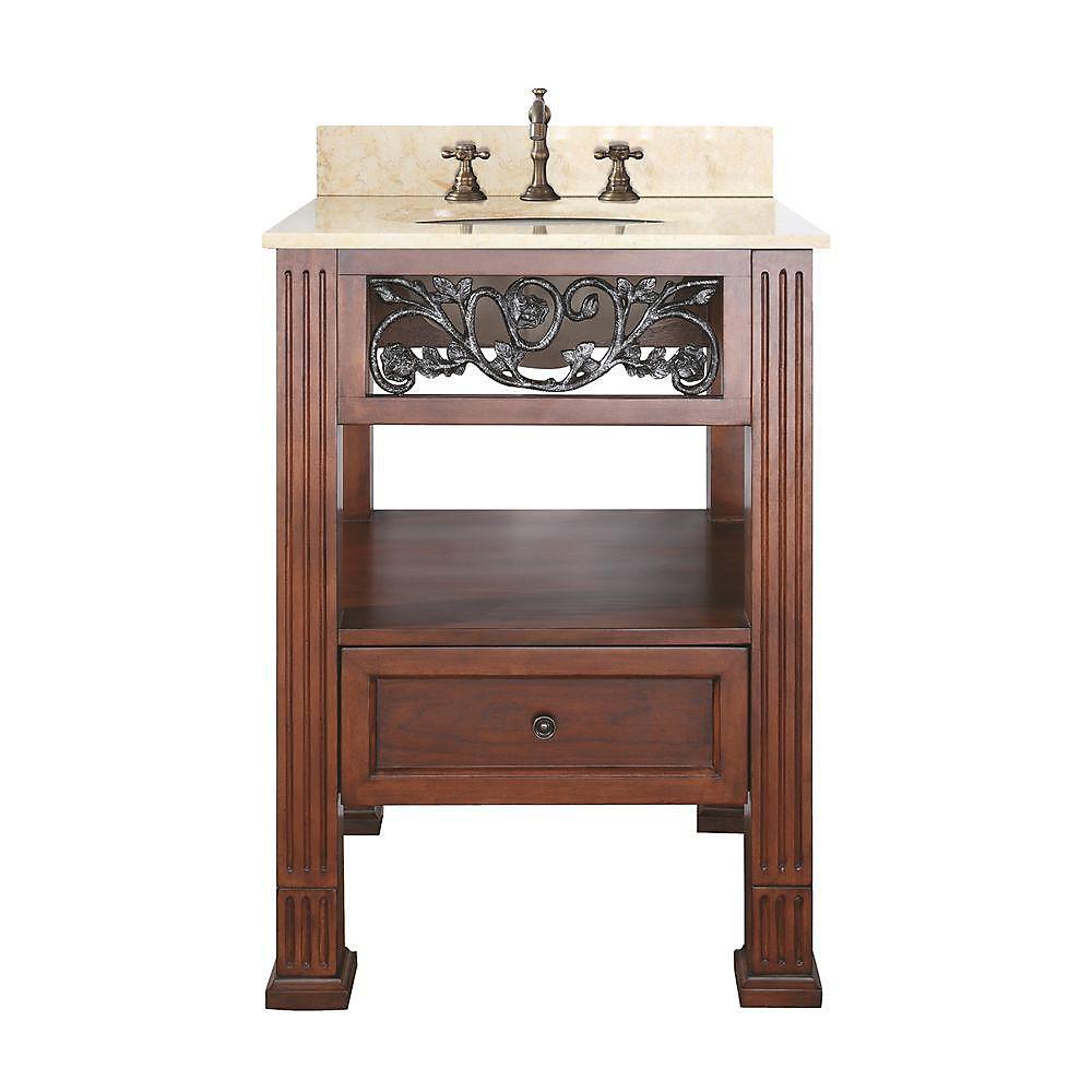 Napa 25-inch W 1-Drawer Freestanding Vanity in Brown With Marble Top in Beige Tan