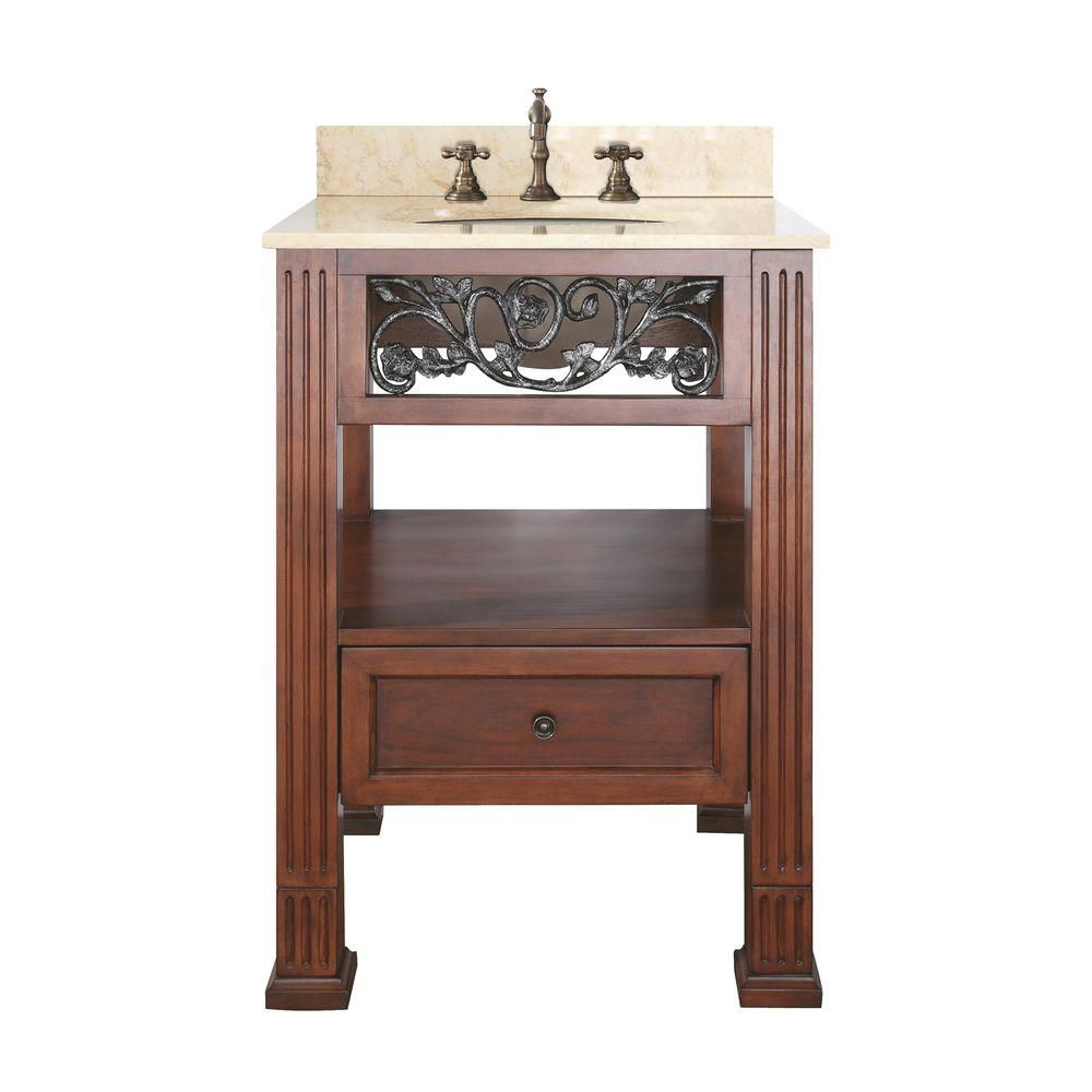 Napa 24-inch W Vanity with Marble Top in Galala Beige and Dark Cherry Sink