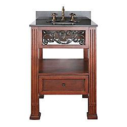 Avanity Napa 25-inch W 1-Drawer Freestanding Vanity in Brown With Granite Top in Black