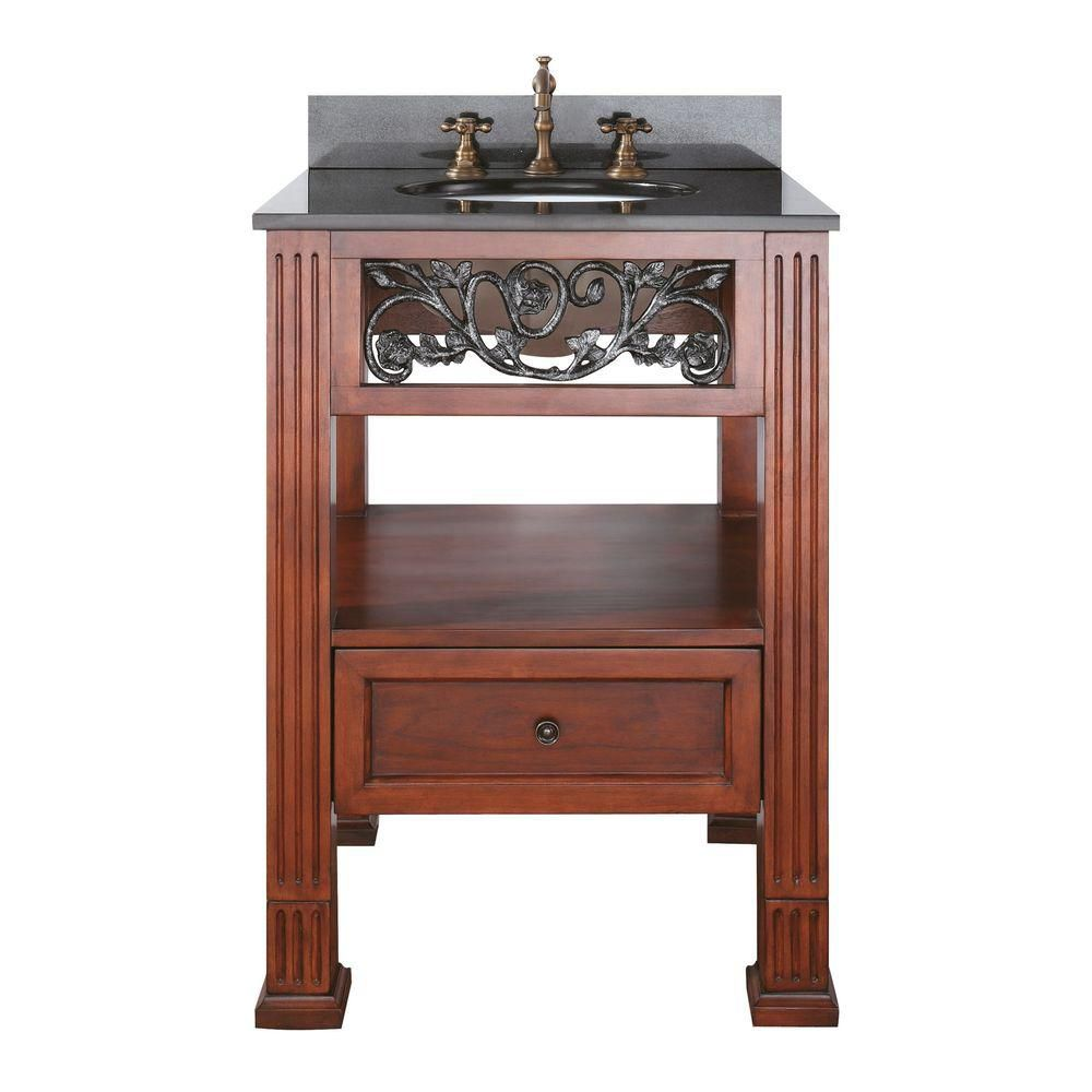 Napa 24-inch W Vanity with Granite Top in Black and Dark Cherry Sink