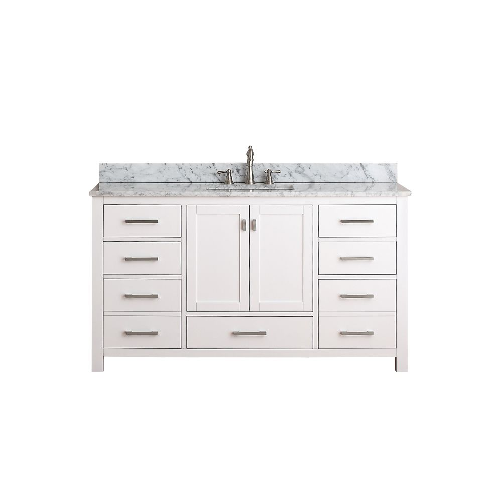 Modero 60-inch W Vanity with Marble Top in  Carrara White and White Sink