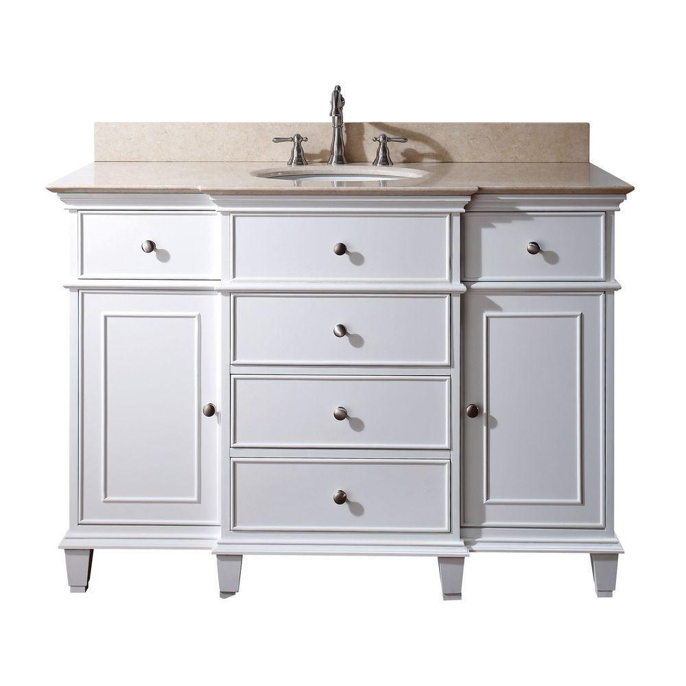 avanity meuble lavabo windsor de 48 po blanc avec lavabo encastr et comptoir en marbre beige au. Black Bedroom Furniture Sets. Home Design Ideas