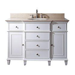 Avanity Windsor 49-inch W 5-Drawer Freestanding Vanity in White With Marble Top in Beige Tan