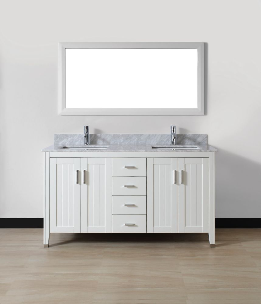 Jackie 60-inch W Vanity Ensemble in White Finish with Mirror