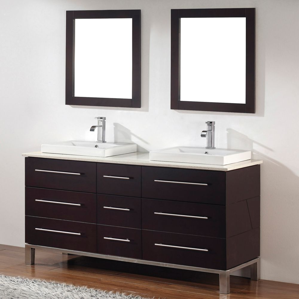 Ginza 63-inch W Vanity Ensemble in Chai Finish with Mirror
