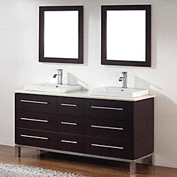 Art Bathe Ginza 63-inch W 6-Drawer 1-Door Vanity in Brown With Quartz Top in Brown, Double Basins