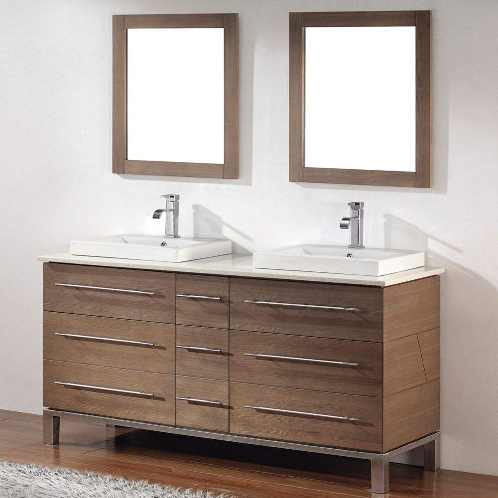 Ginza 63-inch W Vanity Ensemble in Smoked Ash Finish with Mirror