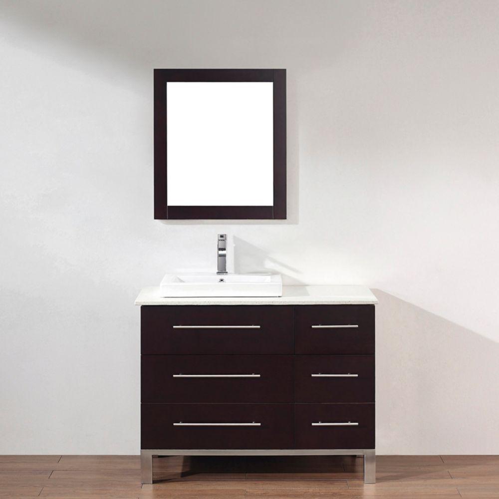 Vanité Ginza 42 de couleur chai avec miroir et robinet