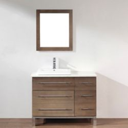 Art Bathe Ginza 42-inch W 4-Drawer 1-Door Freestanding Vanity in Brown With Quartz Top in White With Faucet
