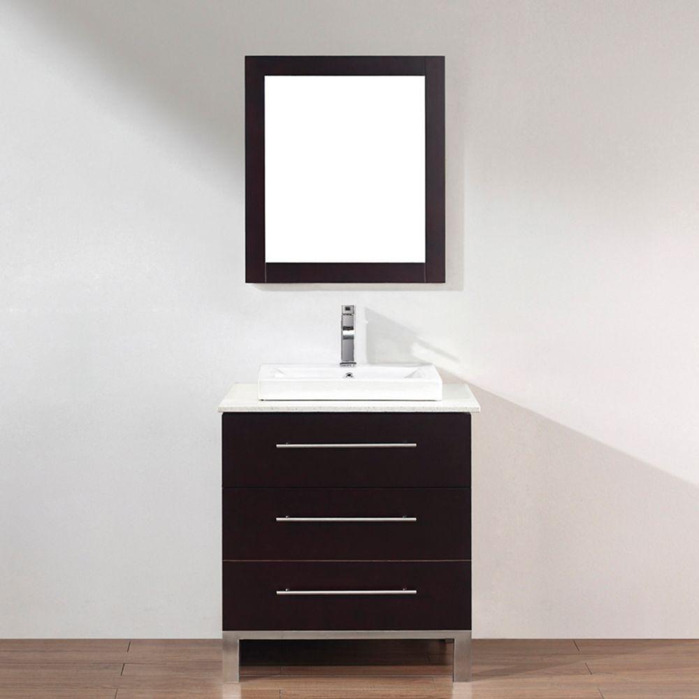 Vanité Ginza 28 de couleur chai avec miroir et robinet