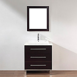 Art Bathe Ginza 28-inch W 2-Drawer 1-Door Vanity in Brown With Quartz Top in Brown With Faucet And Mirror