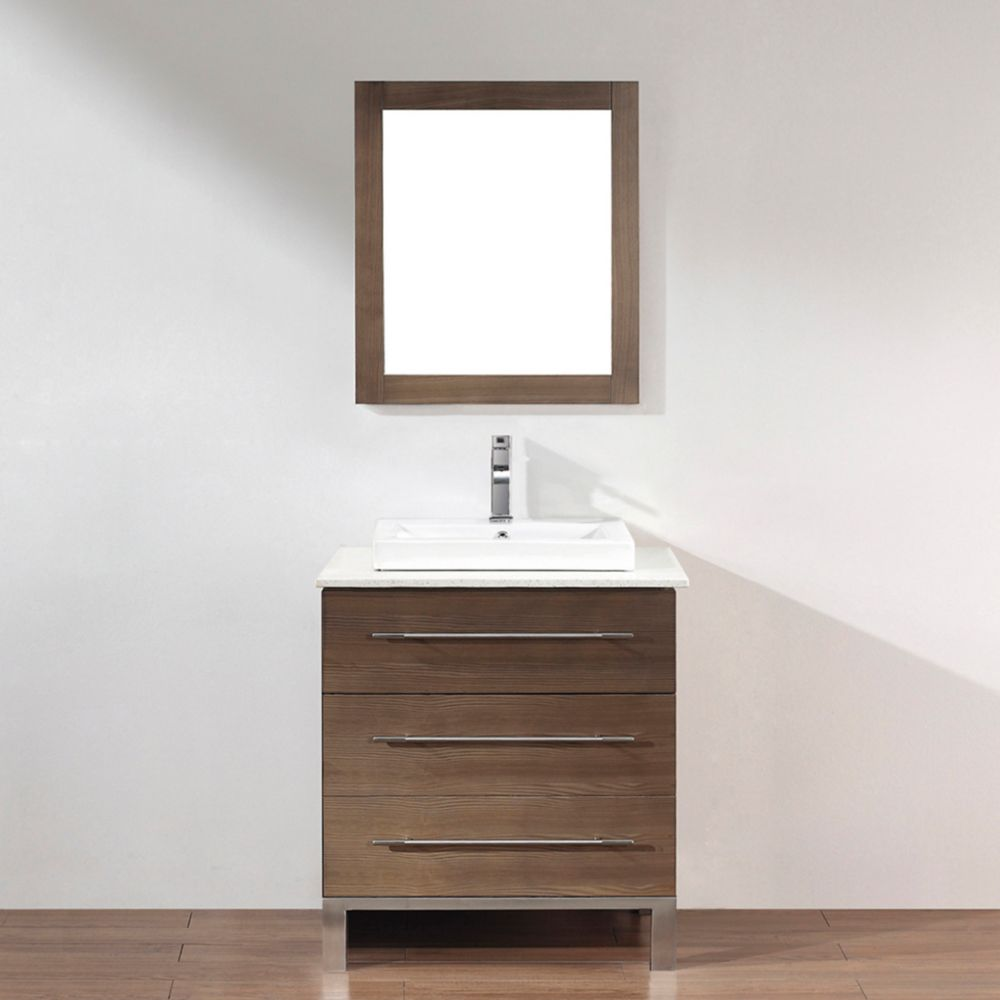 Art Bathe Ginza 28-inch W 2-Drawer 1-Door Vanity in Grey With Quartz Top in Brown With Faucet And Mirror