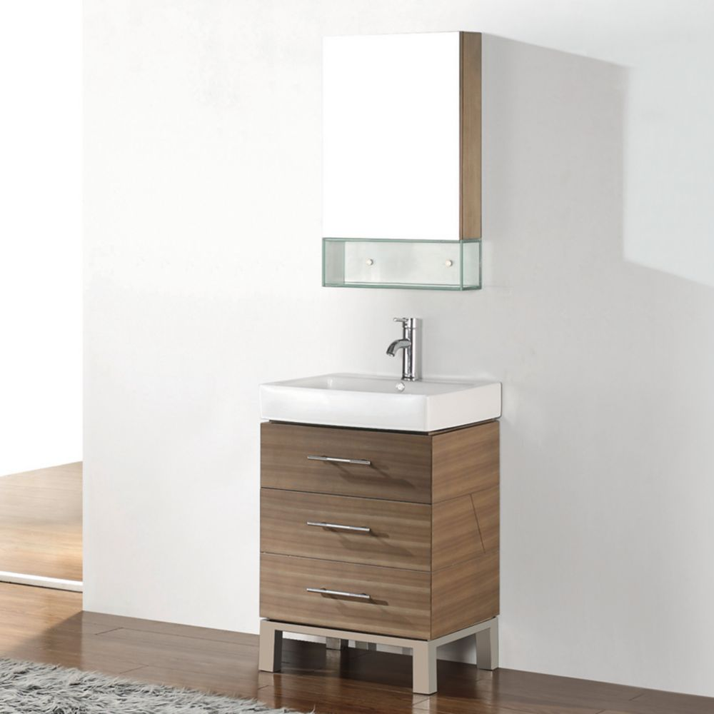 Ginza 22-inch W Vanity Ensemble in Smoked Ash Finish with Mirror and Faucet