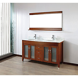Art Bathe Alba 63-inch W 4-Drawer 4-Door Vanity in Brown With Marble Top in Grey, Double Basins