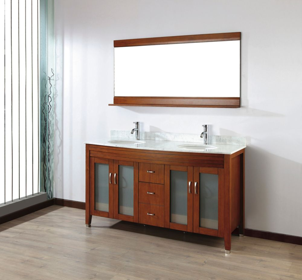 Alba 63-inch W Vanity Ensemble in Classic Cherry Finish with Mirror