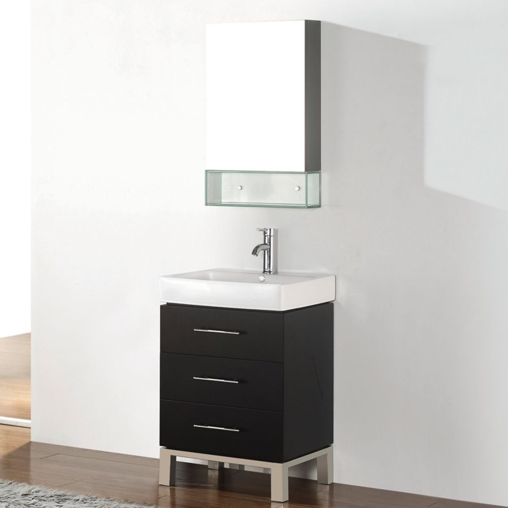 Art Bathe Ginza 22-inch W 2-Drawer 1-Door Vanity in Brown With Ceramic Top in White With Faucet And Mirror